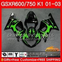 8GIFTS Corps de Suzuki GSXR600 GSX R750 K1 GSXR-600 GSX-R750 4HC.40 GSXR750 GSXR 600 750 01 02 03 2001 2002 2003 Kit de carénage des flammes verts