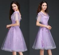 Lavanda de encaje una línea regreso al hogar de los vestidos de la llamarada de manga corta 3D de encaje floral Una princesa Party Prom Short Line vestidos de graduación BM0976