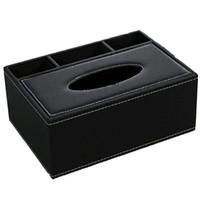 بوتيك العملي الجلود الأنسجة مربع التحكم عن حامل متعددة الوظائف سطح المكتب المنظم مقص قلم حاوية (أسود)