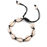 Nero Bianco Boho naturale ragazze conchiglie braccialetti con ciondoli per le donne spiaggia gioielli fatti a mano braccialetti di corda braccialetti regalo gioielli
