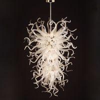 مصابيح قلادة الثريات الزجاج المنفوخ أعلى بيع الكلاسيكية كريستال الثريا 52 بوصة أدى ضوء مخصص الحديثة ديكور المنزل الطعام
