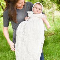 Grace Taufkleid Bonnet Hochwertiges Taufkleid Baby Mädchen Taufkleid White Lace Applique Toddler Robe 0-24month