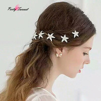 PF 5pcs Bride Headdress Headwear Rhinestone Starfish Hairpin...
