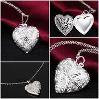Monili d'ottone fai da te Hollow argento dorato photo cuore Medaglioni Oli Essenziali Medaglioni Collana K5748