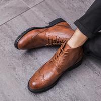 Hot Sale-richelieu style cheville Bottes Hommes britannique Casual Printemps / Bottes Automne Hommes Bottes de base formelle Hommes