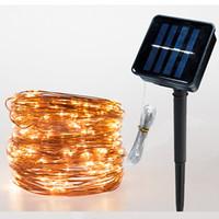 8modes 10 메터 20 메터 Led 문자열 빛 태양 전원 업그레이드 구리 와이어 방수 크리스마스 웨딩 파티 야외 화환 장식