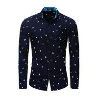 Erkekler Baskılı Gömlek 2020 Yaz Sonbahar Yeni Moda Akıllı Casual Gevşek Uzun Kollu% 100 Pamuk Gömlek Erkek Marka Euro Boyut M-XXXL
