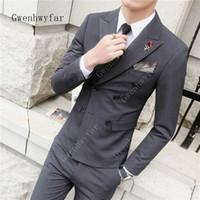 Gwenhwyfar Yeni Moda Yakışıklı Koyu Gri Erkek Takım Elbise Damat Takım Elbise Düğün Erkekler Için En Iyi Erkekler Slim Fit Damat Smokin Suits (ceket + Pantolon)