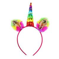 Прекрасные девушки Hairbands Декоративное Magical Unicorn Horn Head Блеск волос партии Оголовье Fancy