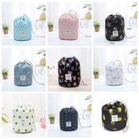 9colors em forma de barril sacos de cosméticos de viagem com cordão cosmético elegante bolsa de maquiagem tambor de lavagem Bag Flamingo Organizador sacos de armazenamento GGA3198-2