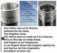 Oração do atacado 50pcs Senhor + Oração Senerity Cruz Jesus grava cristão aço inoxidável 316L jóias anéis anel de dedo homens mulheres anéis