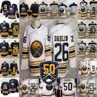 2019 New Buffalo Sabrers Bianco Golden 50th Jersey # 9 Jack Eichel 26 Rasmus Dahlin 53 Jeff Skinner Skinner Blue Blue Men Donne Gioventù Kid