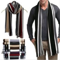 Moda classiche da uomo inverno caldo cachemire a righe nappe Sciarpa Faux Wool Wrap morbido scialle Sciarpe Nuovo