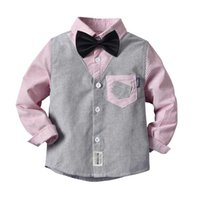 Cute Boys Stripes Patchwork Bow Shirts Tees Candy Pink Blue Colore Gentleman Boys Primavera Autunno Moda Western Top