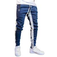 Hommes solides jambe Zipper loisirs Pantalons simple Fitness hommes Vêtements de sport Survêtement Bottoms Skinny Sweatpants Pantalons Pantalons Gymnases piste