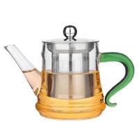 Fabrika malzemeleri cam çiçek demlik, demleme demlik, ısıya dayanıklı şeffaf cam meyve kaynar demlik 400 ml küçük saksıdan stok