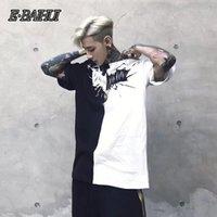 E-BAIHUI 2021 Summer Fashion Patchwork Hip Hop T Shirt Nero Bianco Patchwork manica corta T-shirt Justin Bieber T-shirt LP