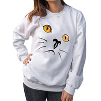 2019 Female sweatshirt Women Cute Cat Print Long Sleeve Roun...