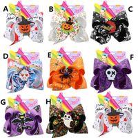 7 pouces JOJO filles Barrettes Halloween arc citrouille Paillettes crâne araignée Barrettes hairbow Épingle cheveux tête Accessoires