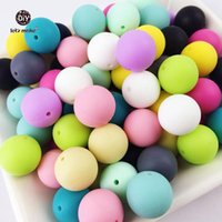 Hagamos 100pc Silicone Baby Timing Teether Beads 12-20mm Caja de seguridad de calzado Masticando Redonda de silicona Beads Collar
