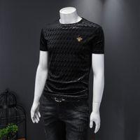 2020 Nova moda masculina de mangas curtas Casual T-shirt de t-shirt de t-shirt de maré Versão coreana do slim