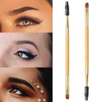 Herramientas de maquillaje profesional de bambú Manija doble extremo cepillo de cejas + peine cejas cepillo del maquillaje de la ceja de nuevos pinceles de maquillaje