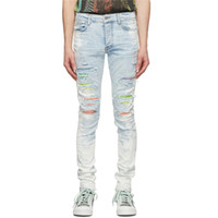 Haute Qualité High Street Spring Spring et Summer Blue Rainbow Strinestone Splash Encre Détruisez Slim Fit ELASTIC Trou jeans HQ22