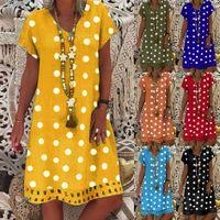Moda Kadınlar Rahat Elbiseler Gevşek Polka Dot Baskı Colorblock Kısa Kollu V Yaka Artı Boyutu 5XL Midi Vestidos