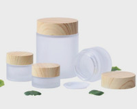 100g frosted glass jar with wood grain lid cosmetic containe...