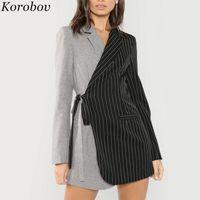 Kadın Takım Elbise Blazers Korobov 2021 Varış Siyah Gri Panelli Çizgili Blazer Bağcık Uzun Kollu Patchwork Rahat Kadın 76945