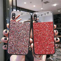 Shell in polvere per specchio per iPhone X XR XS MAX X 8 7 6S Plus per Apple 7plus Fashion Girl Paillettes Flash lampo Cover protettiva per cellulare