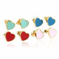 패션 디자이너 귀걸이 여성 보석 골드 귀걸이 하트 귀걸이 디자이너 earings 분홍색 녹색, 빨간색 Boucles 디부 oreille 드 보복 딜럭스