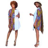 La taille des robes de couleur contrastée Imprimé lambrissé Crew Neck Dress Afrique Casual Femme Style Vêtements d'été Femmes plus