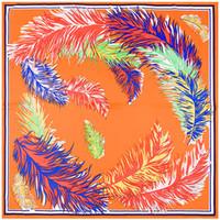 Mode-100x100cm hohe qualtiy Frau Seidenschal Mode ethnischen Stil Wind Feder Sonnenschutz Seidenschal, Damen Schals Seide