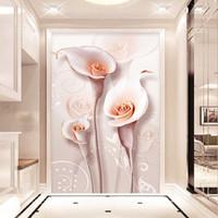 배경 화면 사용자 지정 3D 포 벽지 구호 입체 백합 꽃 입구 벽 장식 그림 벽화 현대