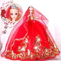 وفقا ل حلوة باربي دمية فستان الزفاف دعوى هدية مربع دمية فتاة لعب الأطفال يوم الفنون هدية المدرسة