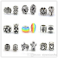 Mix sample style Big Hole Loose Colorful Beads charm For Pan...