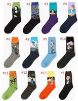 Yağlıboya sanat çorap kadın erkek pamuk harajuku tarzı ünlü boyama çorap van Gogh Mona Lisa da Vinci komik Çorap çorap Vintage