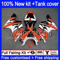 Body + Serbatoio per Kawasaki 600cc ZX600 ZX636 ZX6R 2003 2004 arancione bianco 211MY.33 ZX 6 R 636 ZX6R 03 04 ZX636 ZX600 ZX 6R 03 04 carenatura