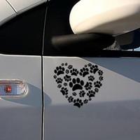 Etiqueta engomada del coche Dog Paw Print en su corazón Calcomanías para automóviles Dog Paw Vinyl Car Body Decals Envío gratis