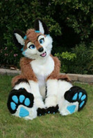 Halloween longo pele husky cão fox fursuit mascote traje terno