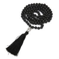 Boho Lava Rock Borla Larga Collar Difusor Aceite Esencial Negro piedra natural Buda cuentas suéter Cadena Para las mujeres Joyería de Moda a granel