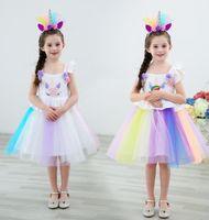 Unicórnio menina Vestidos Princesa Meninas Cosplay Vestir-se Traje Crianças Partido Tutu Vestido de Roupas Crianças Roupas de Flores vestido KKA6568