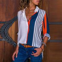 Mulheres verão blusas manga comprida girar para baixo camisa de escritório chiffon blusa camisa casual tops plus size s a 3xl