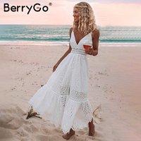 BerryGo Beyaz seksi kadın yazlık elbise 2020 Hollow dışarı nakış maksi pamuk elbiseler Akşam parti uzun bayanlar vestidos İnciler