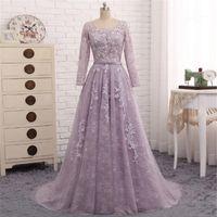 Vestito da promenade in pizzo viola chiaro 2018 wanshandress maniche lunghe cavo retro abiti da sera gioiello personalizzato abiti da sera con cintura