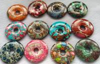 """Batch Imeprial Jasper ciambella punto focale forniture di gioielli, componente di gioielli perle tonde 30mm 40mm 50mm (2 """")"""
