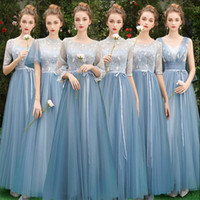 New Dusty Blue Bridesmaid Dress Mismatched Lace Full Sleeve ...