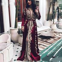 Borgoña Marroquí Kaftan Vestidos de noche Mangas largas Apliques de encaje Apliques musulmán Vestido de baile Árabe Musulmán Ocasiones Especial Ocasión Formal Gown