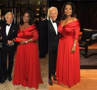 Oprah الرسمي وينفري قبالة الكتف الأم من فساتين العروس مع نصف كم زائد الحجم ruched الأحمر الشيفون الأم ثوب المناسبات الرسمية